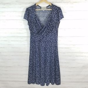 Leota Sweetheart Dress Wrap Polka Dot Navy White L